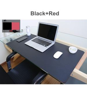 (photo) Both Sides Extended PU Leather Mouse Pad / MatLarge Office Gaming Desk Mat-Red And Yellow