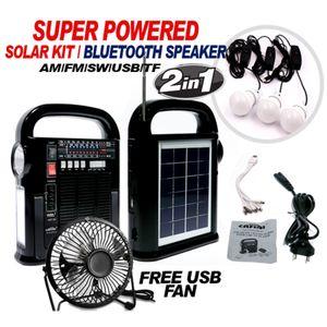 SOLAR ENERGY KIT/BLUETOOHT PORTABLE SPEAKER WITH 3 BULBS AND FREE USB FAN