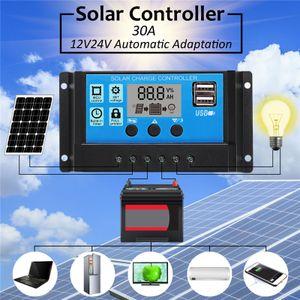 Solar Panel Controller Charge Regulator 12V/24V W/ Dual USB