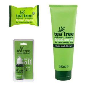 Tea Tree Cleansing Facial Scrub + Essential Oil + Facial Wipes Set.